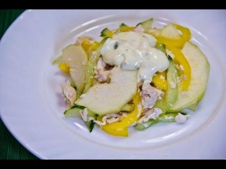 Рецепт салата с курицей грушей и свежим огурцом