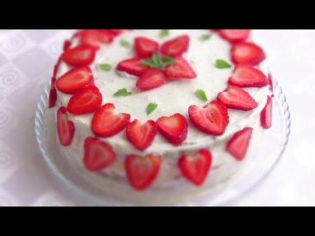 Торт клубничный со сметанным кремом