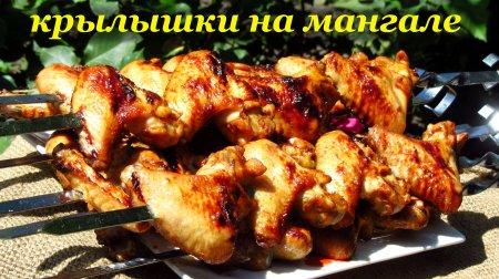 Рецепт куриных крылышек на мангале в квасном маринаде