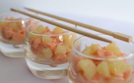 Салат из семги с ананасом