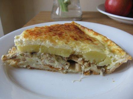 Тарт с картофелем, грибами и луком