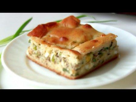 Быстрый пирог рыбный с зеленым луком