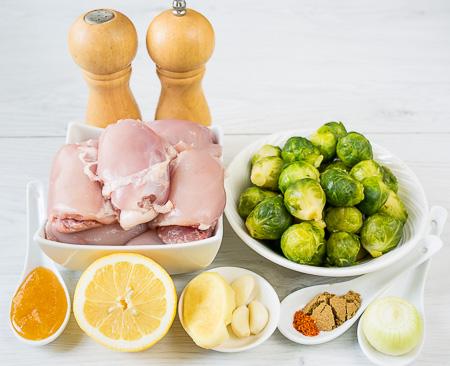 Курица с брюссельской капустой и имбирем