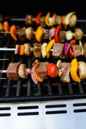Шашлык из говядины и овощей