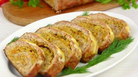 Мясной рулет с капустой
