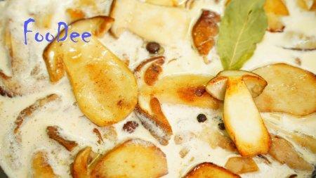Грибы в сливках – очень вкусный рецепт жареных грибочков