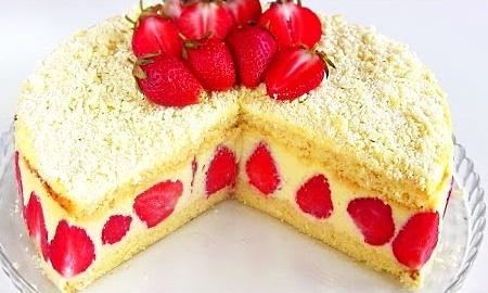 Клубничный торт с нежнейшим кремом