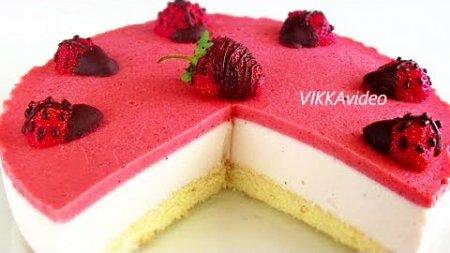 Творожно-йогуртовый торт с клубникой