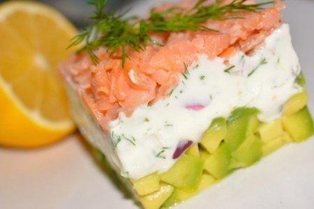 Закуска с копченым лососем, сыром и авокадо